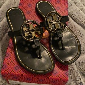 Tory Burch metal miller sandals. Like new